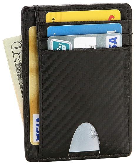 c6c9f6839b3f EKCIRXT Slim RFID Blocking Credit Card Holder Minimalist Leather Front  Pocket Wallet for Women & Men