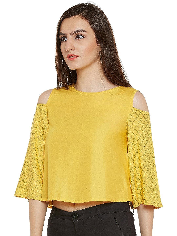 da2869070b551 9rasa Women Cotton Viscose Block Printed Cold Shoulder Top Yellow   Amazon.in  Clothing   Accessories