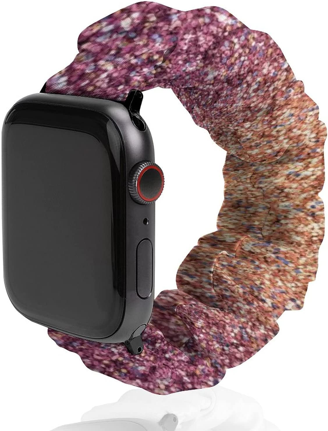NiYoung Purple Orange Glitter Sparkles Watch Strap Compatible with Apple Elastic Watch Bands 38mm/40mm,42mm/44mm Sport Band Compatible with Iwatch Series 6/5/4/3/2/1 for Women Girls