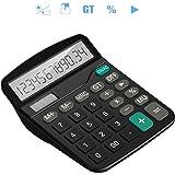 Tech Traders® calculatrice, calculatrice de bureau 12chiffres Grand écran électronique calculatrice solaire et pile AA (non incluse) double alimentation (Noir)