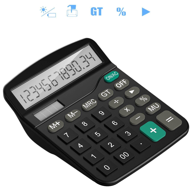 Tech Traders®, calcolatrice da tavolo 12cifre con ampio display elettronico. Calcolatrice a energia solare e batterie AA (non incluse), colore nero Tech Traders® TTBCAL1