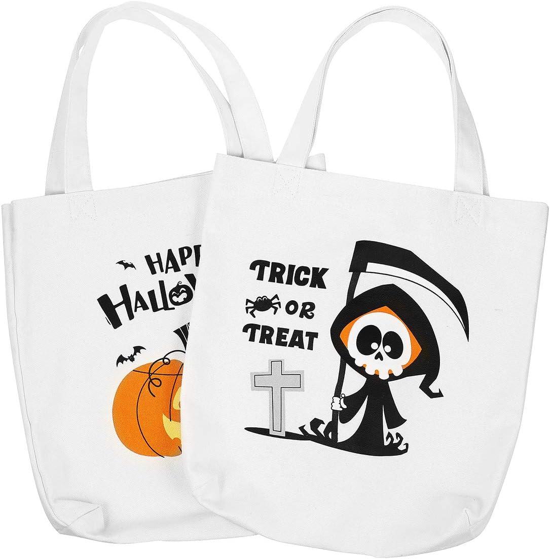 Halloween Goody Bags Lightweight Portable Canvas Bags Foldable Candy Bags for Halloween Haunt House 2 Pcs