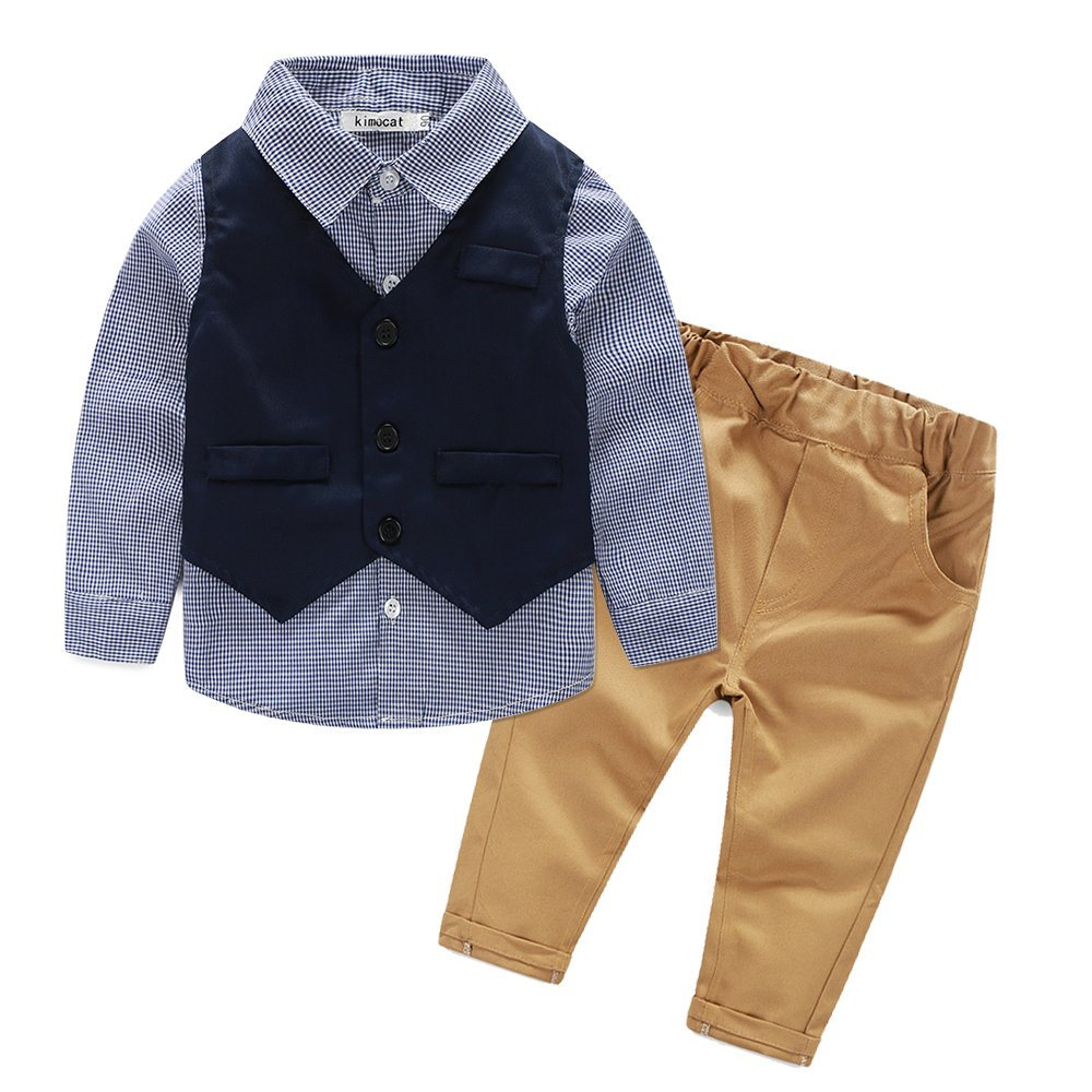 Boys 3Pcs Blue Plaid Shirt+Dark-Blue Vest+Khaki Pants Set Clothes Suit Slim Fit (2T)