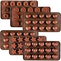Kootek 6 Pieces Silicone Chocolate Molds, Reusable 90 Cavity Candy Mold Ice Cube Trays Candies Making Supplies for Chocolates Hard Candy Cake Decoration Soap Crayons Candles