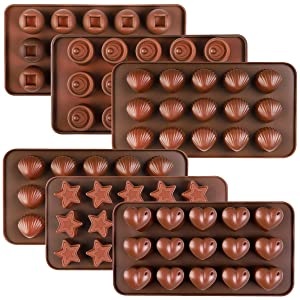 Kootek 6 Pcs Silicone Chocolate Molds, Reusable 90 Cavity Candy Baking Mold Ice Cube Trays FDA Approved Candies Making Supplies for Chocolates Hard Candy Cake Decoration Soap Crayons Candles (Brown)