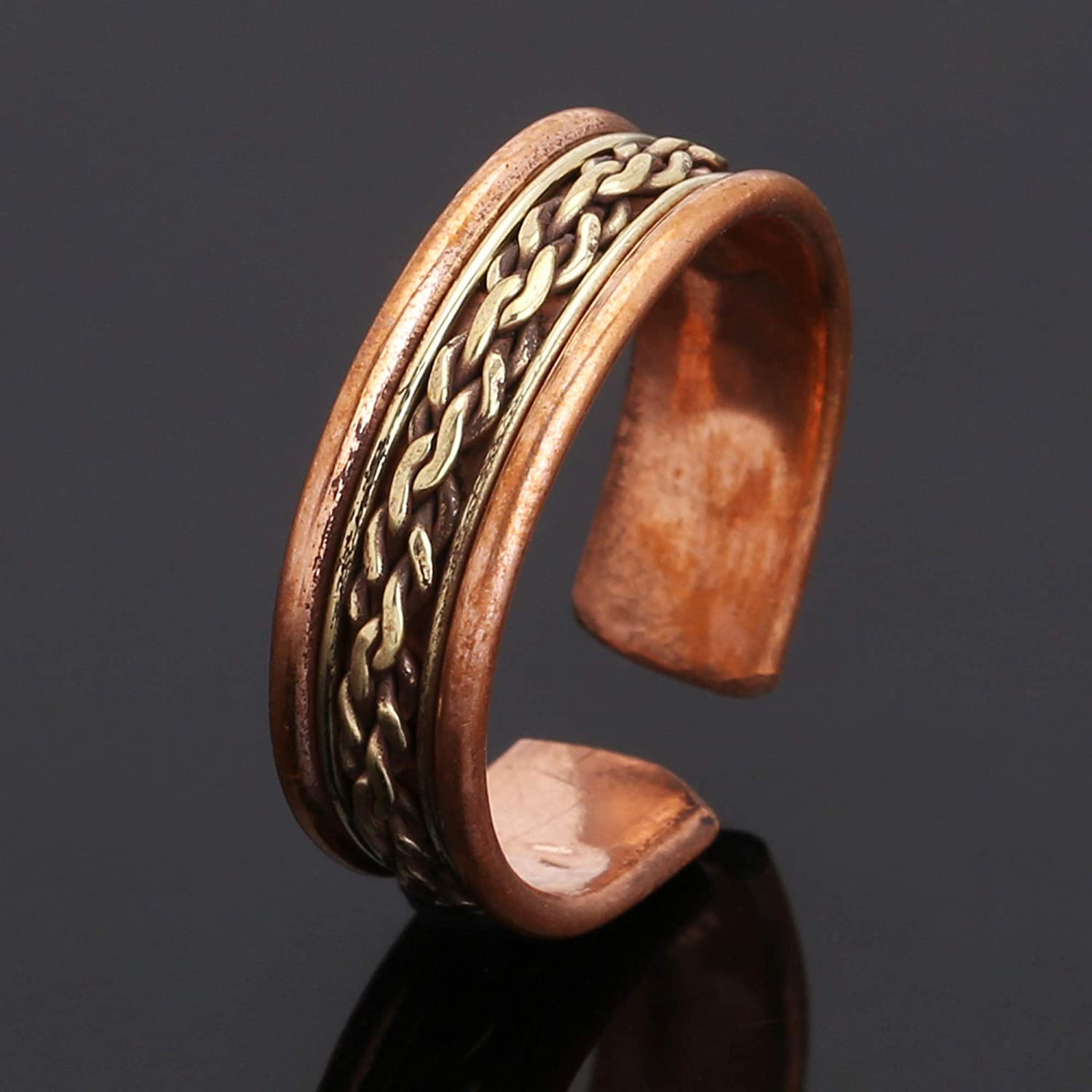 iCraftJewel Pure Copper Thumb Ring Bio Healing Pain Reliever Adjustable Brown Ring Gift Item
