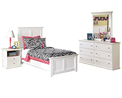 Amazon.com: Ashley Bostwick Shoals 4 PC Twin Panel Bedroom Set in ...
