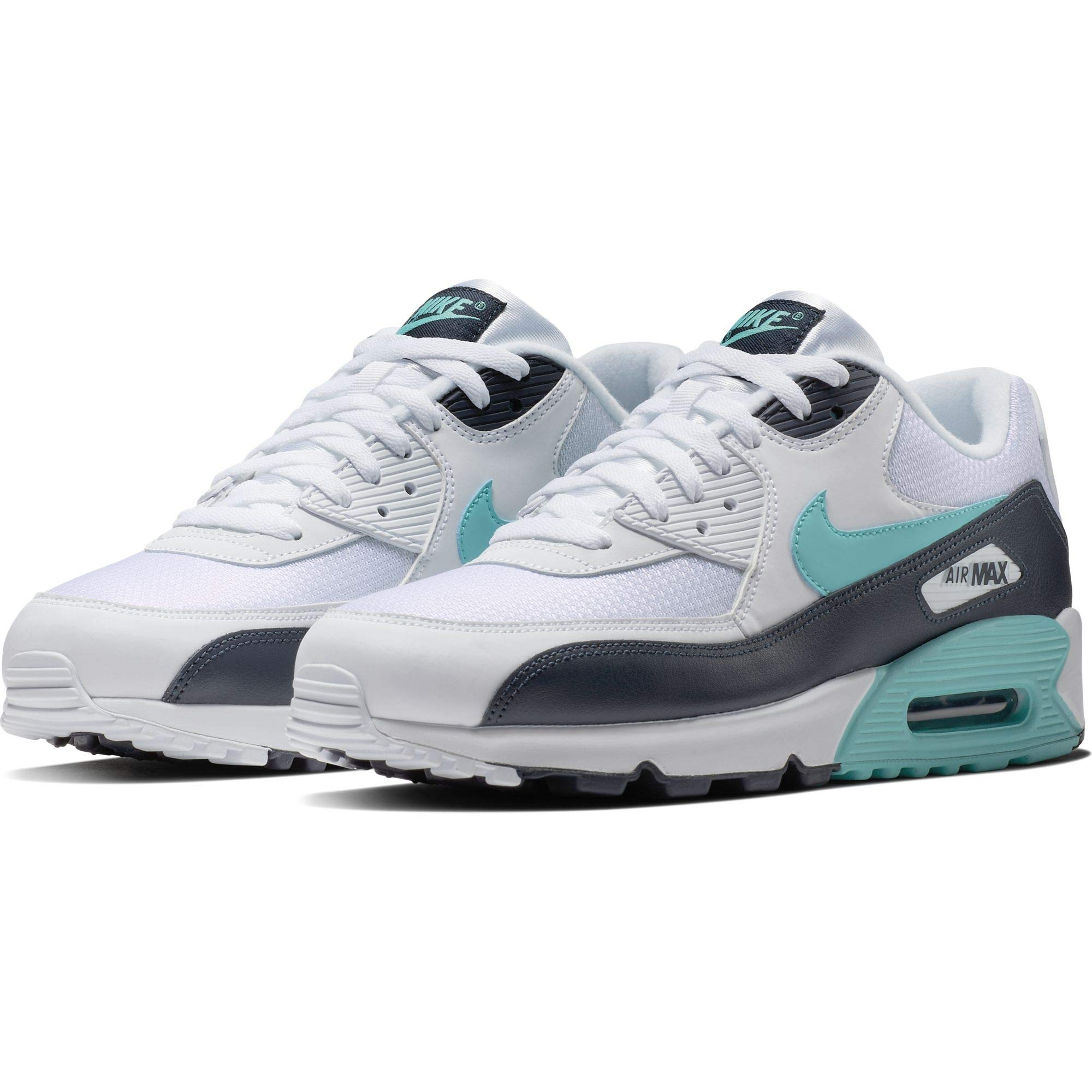 low priced f824c c1009 Nike Mens Air Max 90 Essential Running Shoes White Aurora Green Obsidian  AJ1285-102 Size 7.5