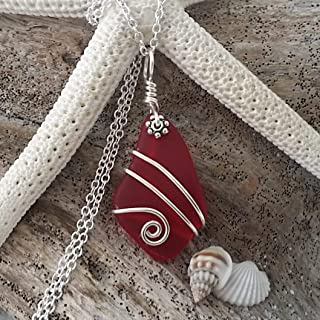 Handgefertigt in Hawaii, Draht umwickelt, Ruby Red Sea Glass-Halskette, July Birthstone /', Sterling Silberkette, Hawaiian Geschenk, Geschenkverpackung