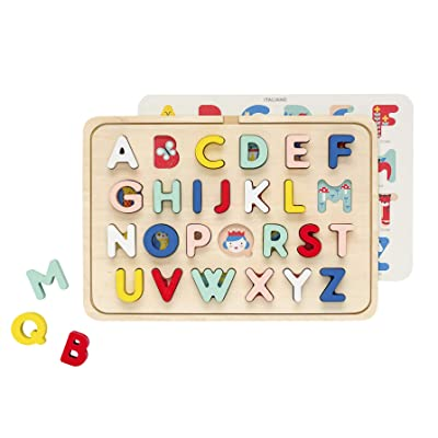 Petit Collage Multi Language Alphabet Wooden Tray Puzzle, Ages 3+ Years: Toys & Games