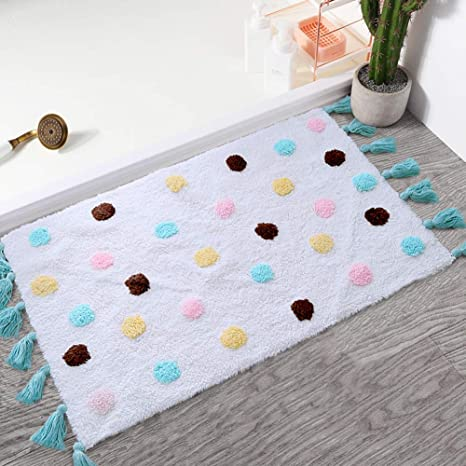 Amazon Com Super Soft Plush Bath Mat Cute Bathroom Rug For Kid 2 X3 Area Rug With Colorful Dots Tassel Cozy High Pile Small Throw Rug For Baby Nursery Girl Bedroom Thick
