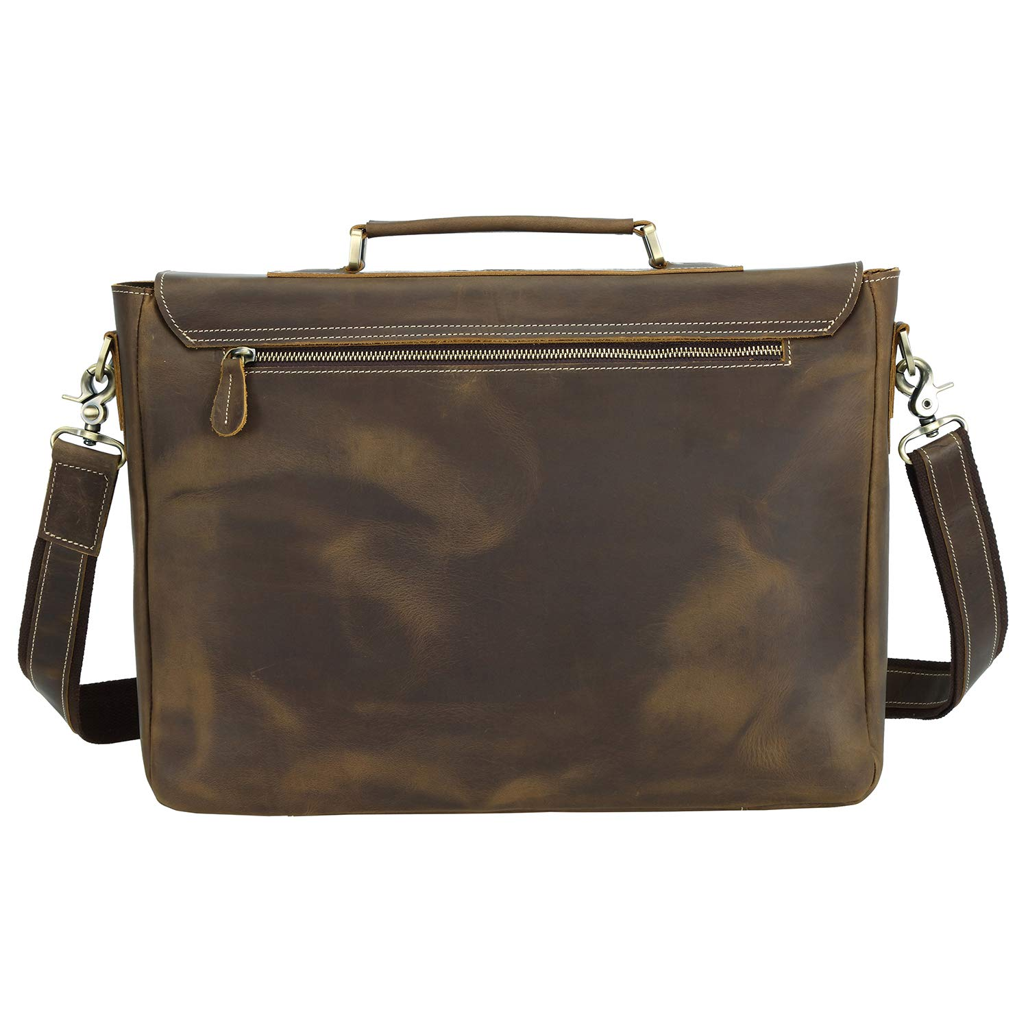 Texbo Men's 16 Inch Full Grain Cowhide Leather Laptop Briefcase Messenger Bag Tote by Texbo (Image #4)