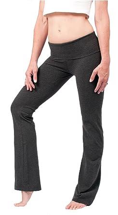 2581beec38 Amazon.com: Hard Tail Foldover Bootcut Yoga Pants - Dark Charcoal: Clothing