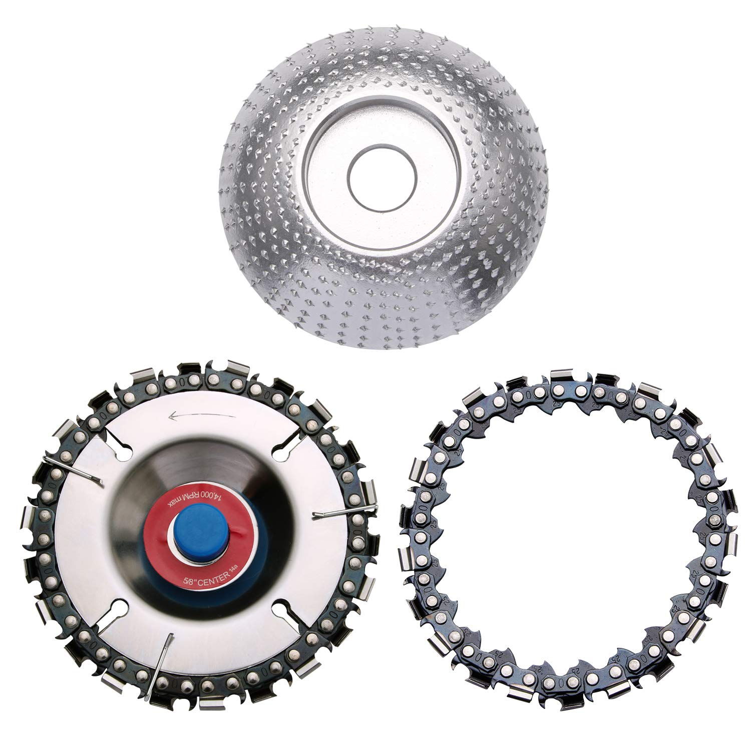 Carving Discs Wood Carving Disc 22-Teeth Steel Blade 4 Inches Angle Grinder Cutting Shaping Woodworking Chain Tool 14000rpm Max ,for 100//115 Angle