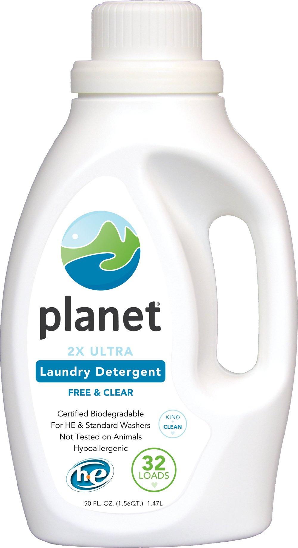 Planet 2x HE Ultra Laundry Liquid Detergent, 32-Loads, 50-Ounces Bottle (Pack of 4)