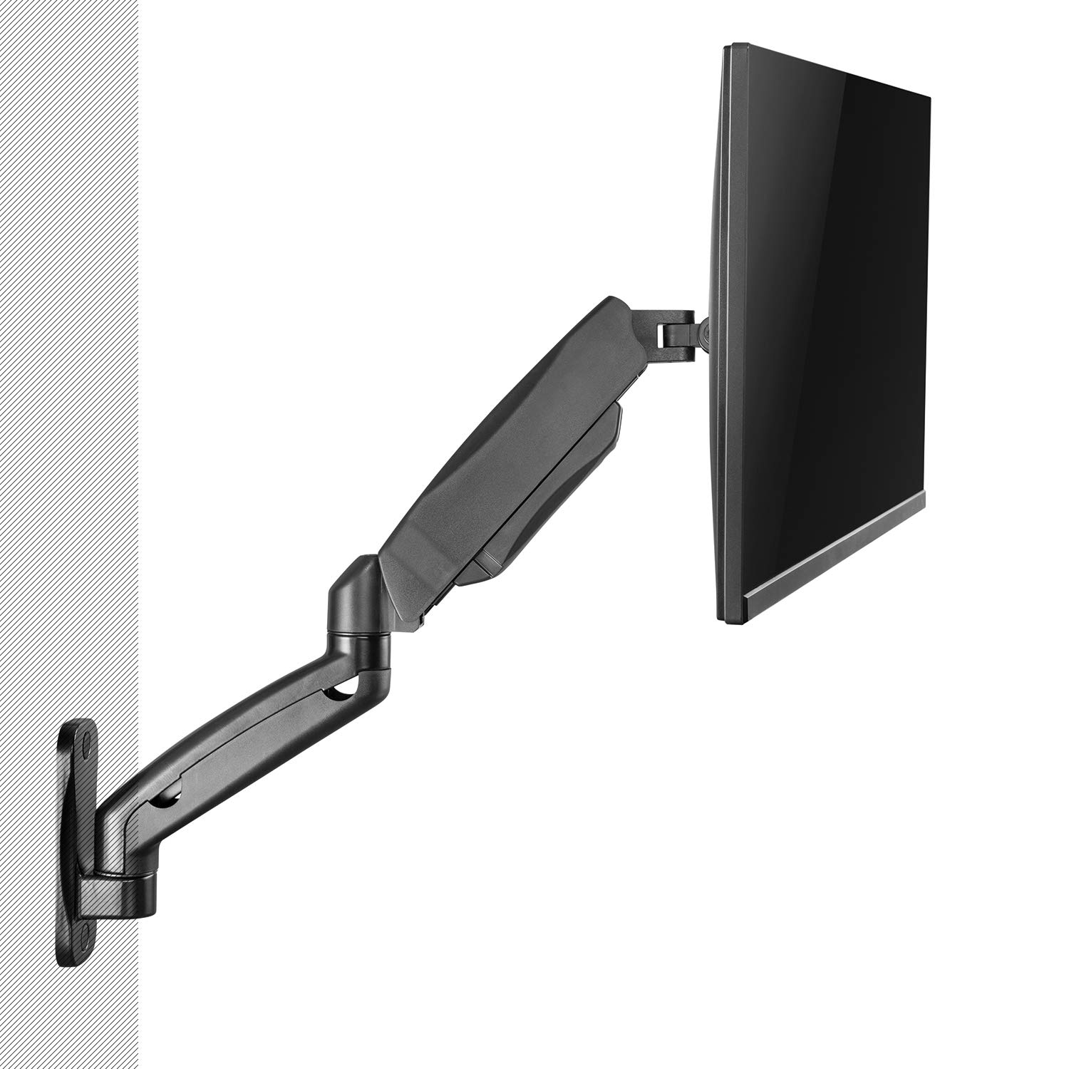 """WALI Universal Single LCD Monitor Fully Adjustable Gas Spring Wall Mount Fits One Screen VESA up to 27"""", 15.4 lbs. Weight Capacity (GSWM001), Black"""