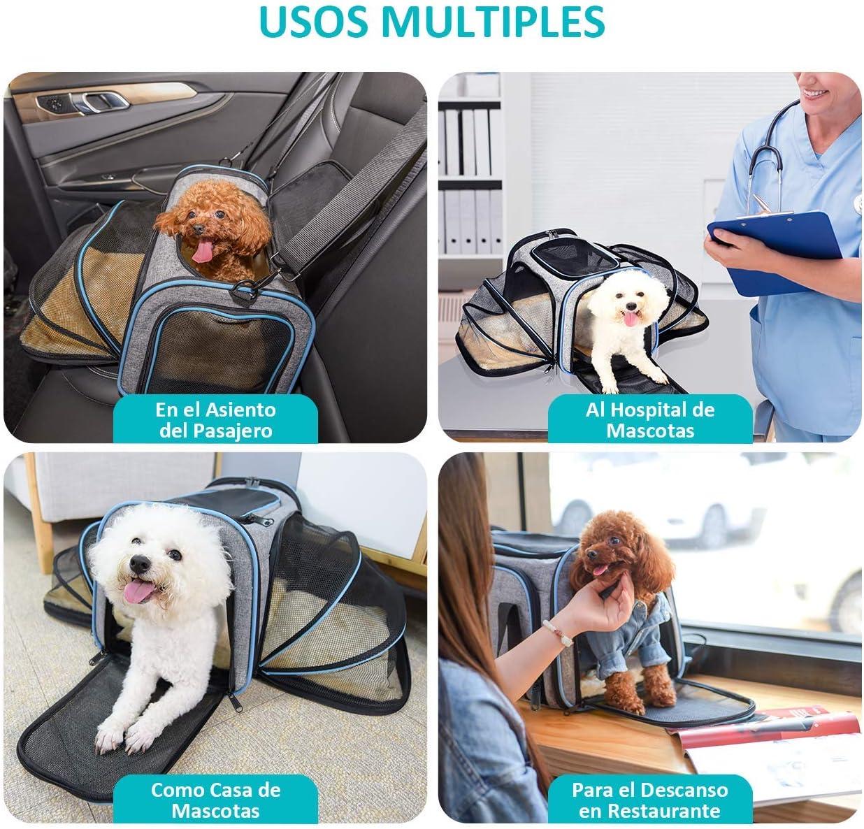OMORC Transport/ín Plegable para Mascotas Aprobado por avi/ón Bolsa de Viaje para Gatos y Perros Bolso de Transporte para Mascotas Amplio y Plegable