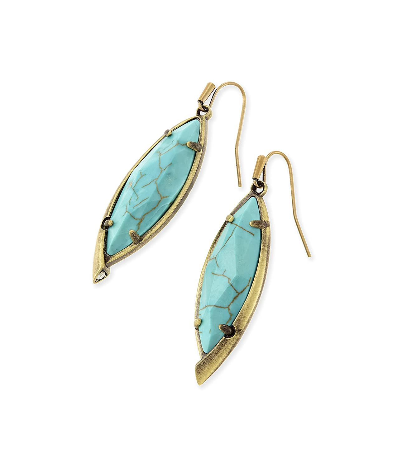 Blue Synthetic Turquoise Round Dome Stud Earring 14K Gold Plated Sterling Silver