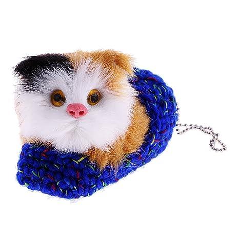 MagiDeal Mini Animales de Peluche Juguete Mimoso Perrito Gato Decoración Casera - Azul oscuro del gato