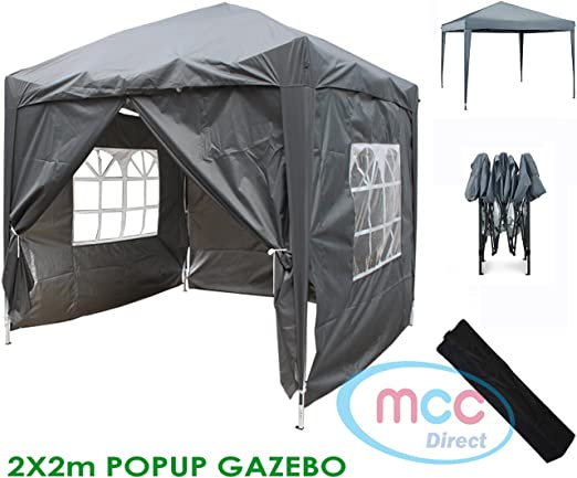 color Azul tienda del pabell/ón con la capa protectora de plata incluye paredes laterales WS Mcc/® Gazebo plegable impermeable del gazebo 2x2m