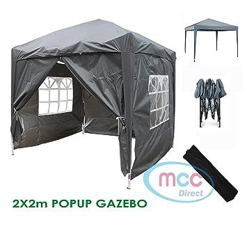 Mcc® Gazebo plegable impermeable del gazebo 2x2m, tienda del pabellón con la capa protectora de plata incluye paredes laterales [WS] (color Gris): ...