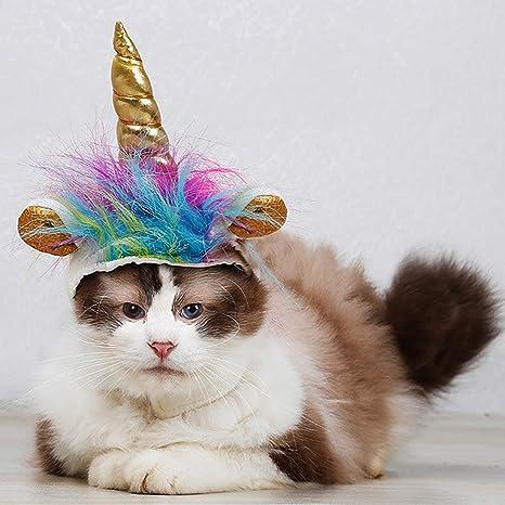 Mcree - Disfraz de Unicornio para Cachorro con Gorro Ajustable para Cosplay, Fiesta de Halloween