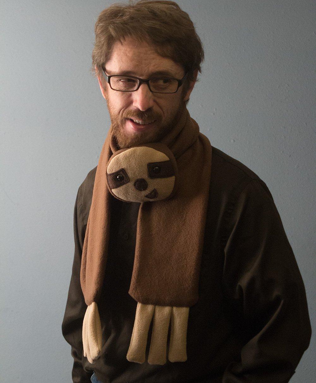 Handmade Fleece Sloth Scarf Brown