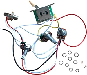 Prewired Guitar Wiring Harness Electronics Kit, 2T1V 500K Pots Control Knobs 5-Way Switch with Jack for Strat Style Guitar Replacements, Cream Cap
