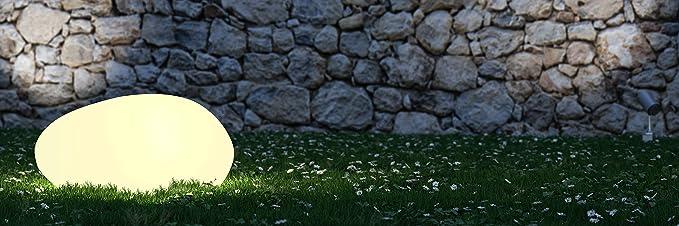 Velamp STONE Piedra de luz LED RGB con energía solar de 40 cm, IP66, con control remoto. Elección entre blanco y 7 colores. Inalámbrico. Para jardín, terraza, piscina: Amazon.es: Iluminación