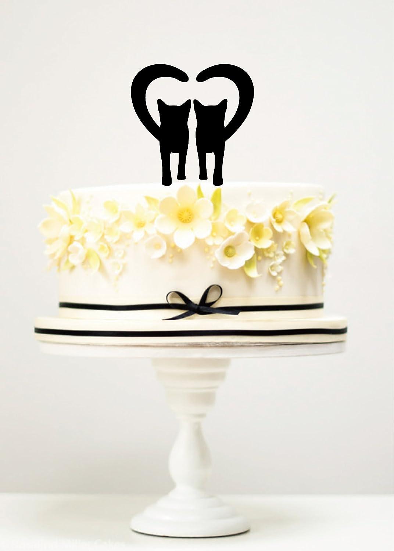 Phenomenal Amazon Com Kiskistonite Cake Toppers Cats Love Heart Wedding Funny Birthday Cards Online Fluifree Goldxyz