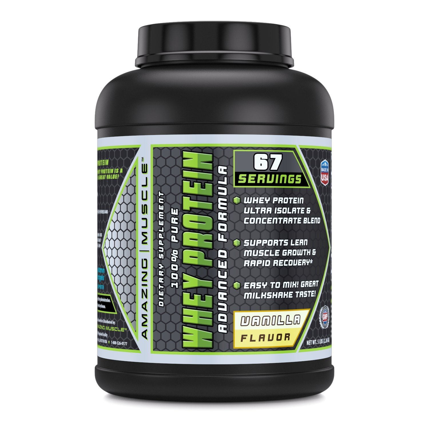 Amazing Muscle 100% Whey Protein Powder - 5 Lbs - Advance Formula - High Performance - With Complete Array Of Amino-Acids - Delicious Vanilla Flavor B01CIPAH3Y