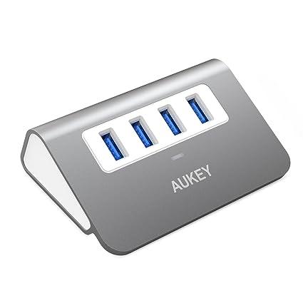 AUKEY Hub USB 3.0 4 Ports SuperSpeed en Aluminium Haute Vitesse Câble USB de 50 cm inclus compatible avec Windows XP / Vista / 7 / 8 / 10 , Mac OS , Linux et Tous les Ports USB A ( Gris)