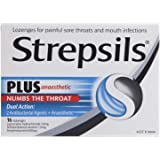 Strepsils Plus Anaesthetic Sore Throat Numbing Pain Relief Lozenges (16 Pack)