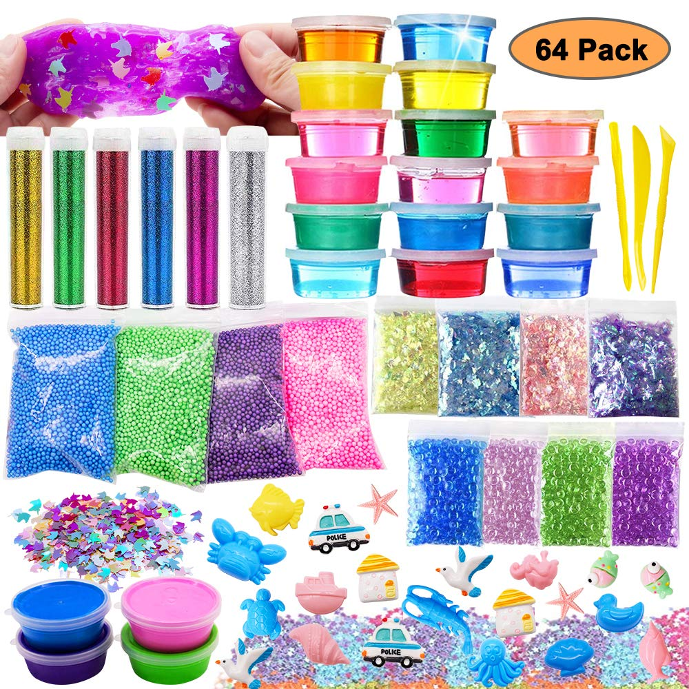 DIY Slime Toy For Girls Boys,Glitter Slime Making Kit 62 Pack Kids Slime Supplies Gifts For Kids Age 6+ Year Old Including Clear Crystal Slime,Air Dry Clay,Fishbowl Beads,Ect (64 Pack slime kit) by VSTON
