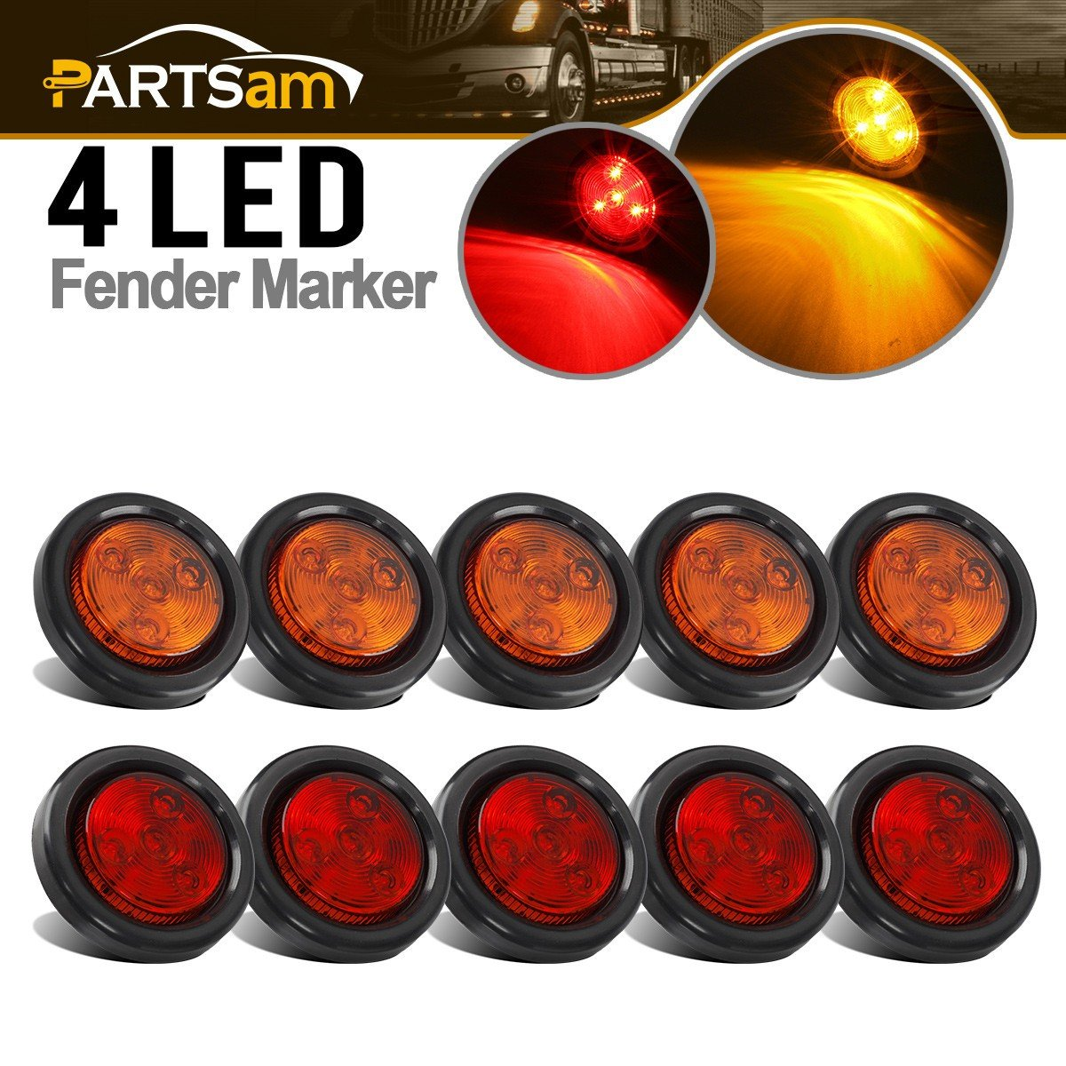 Partsam 10Pack(5 Amber + 5 Red) 2'' Led Round Side Marker Light Grommet Flush Mount 4LED, Sealed 2 Round led Marker Lights Truck Trailer with Reflex Lens, IP67 Waterproof by Partsam