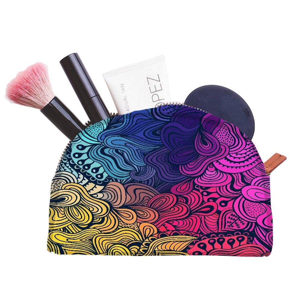 Snoogg Vectorielle Seamless Texture avec fleurs abstraites sans fin Fond ethnique Mer multifonctionnel Toile Pen Sac trousse maquillage Outil Sac pochette de rangement Sac à main