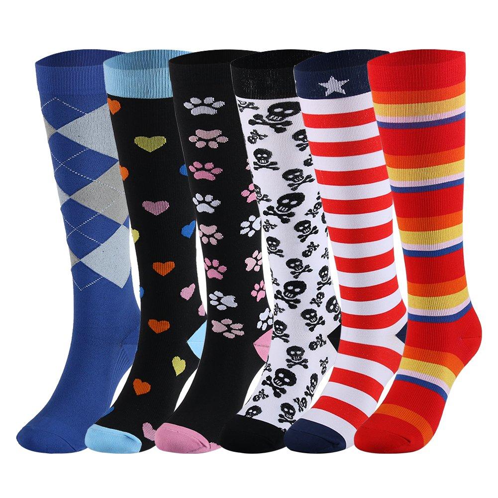 Compression Socks for Women & Men 20-30 mmHg - 3/6 Pairs - Best Knee High Socks For Athletic, Running, Medical, Pregnancy, Crossfit , Travel, Shin Splints . (6 Pairs,Rainbow Heart Star, Large/X-Large)