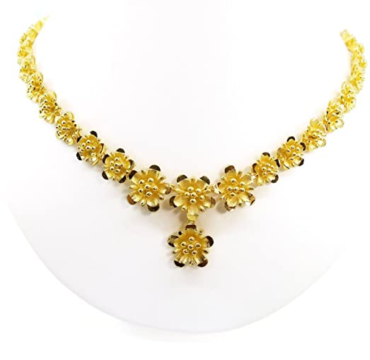 Amazon flower necklace 23k 24k thai baht yellow gold plated flower necklace 23k 24k thai baht yellow gold plated women girl necklace pendant choker snake chain mightylinksfo