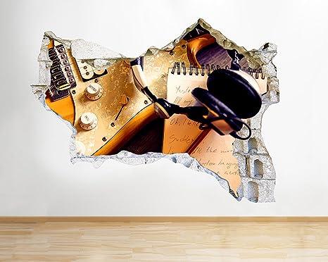 tekkdesigns Q714 Guitarra eléctrica canción y rompió Adhesivo Pared 3D Arte Pegatinas Vinilo habitación