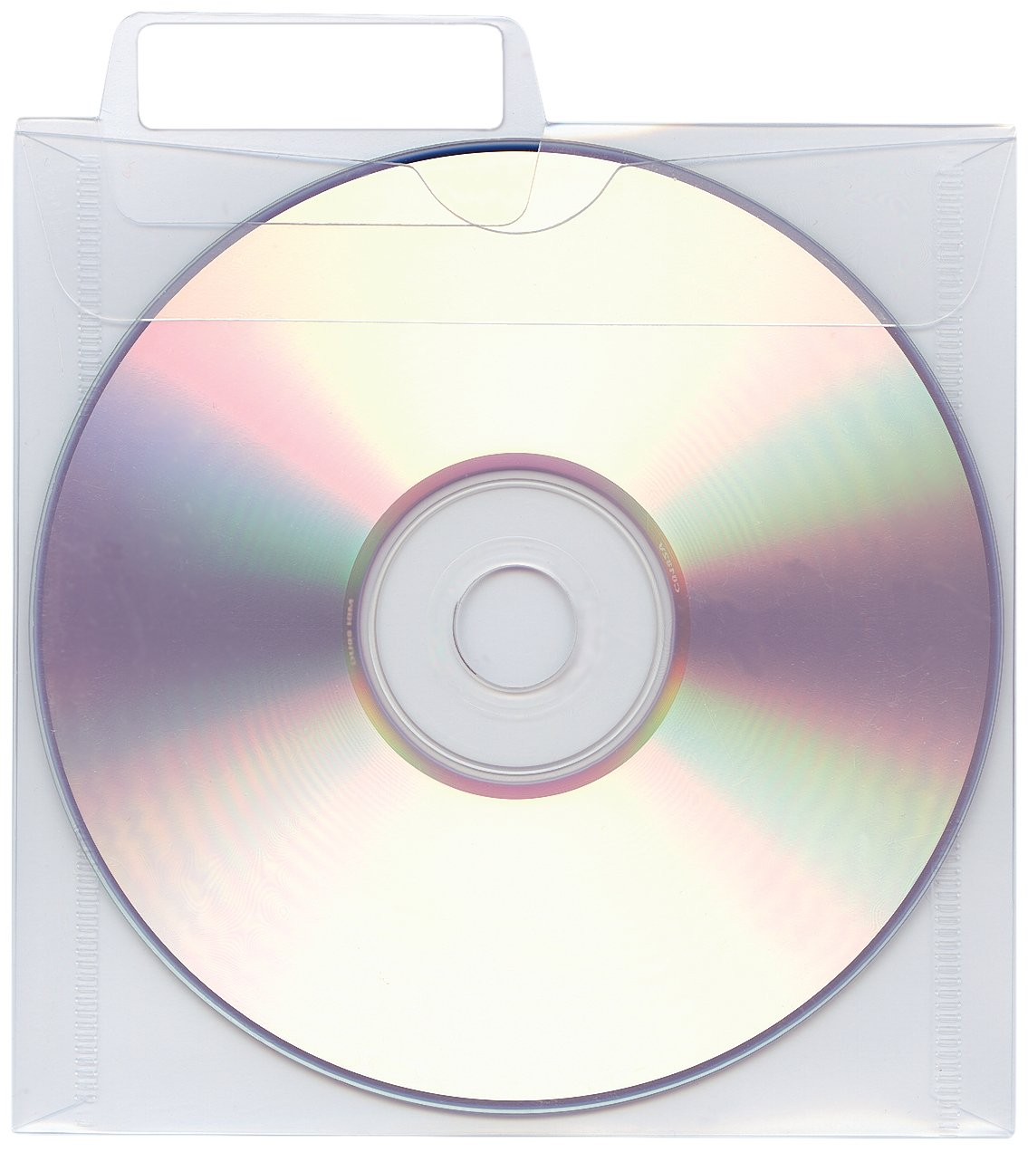PDC Healthcare CD120 CD/DVD Accessory, Poly Sleeve with Tab, Pos #1 and 2, 5'' x 5'', Clear (Pack of 25)