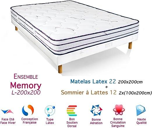 Conjunto Memory-Colchón de látex somier 22/12, 200 x 200 cm ...