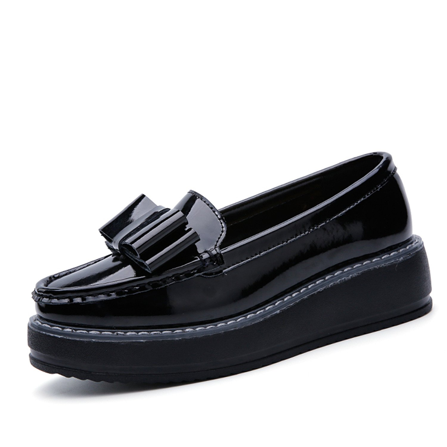 60439846fb6e Suppliesed Women Flats Shoes Woman Black Patent Leather Slip on Bow-Knot  Casual Loafers Women s Low Bow Flat Platform Shoes