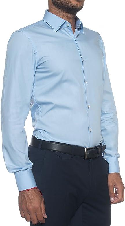 BOSS Hugo Slim Fit Camisa de Jenno Azul Brillante 43: Amazon.es ...
