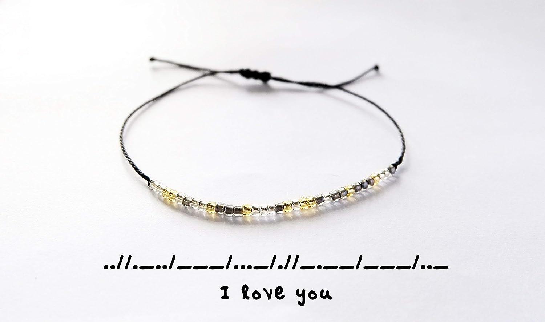 57a7b2be3c797 Amazon.com: I Love You Morse Code Bracelet - Personalized Love ...