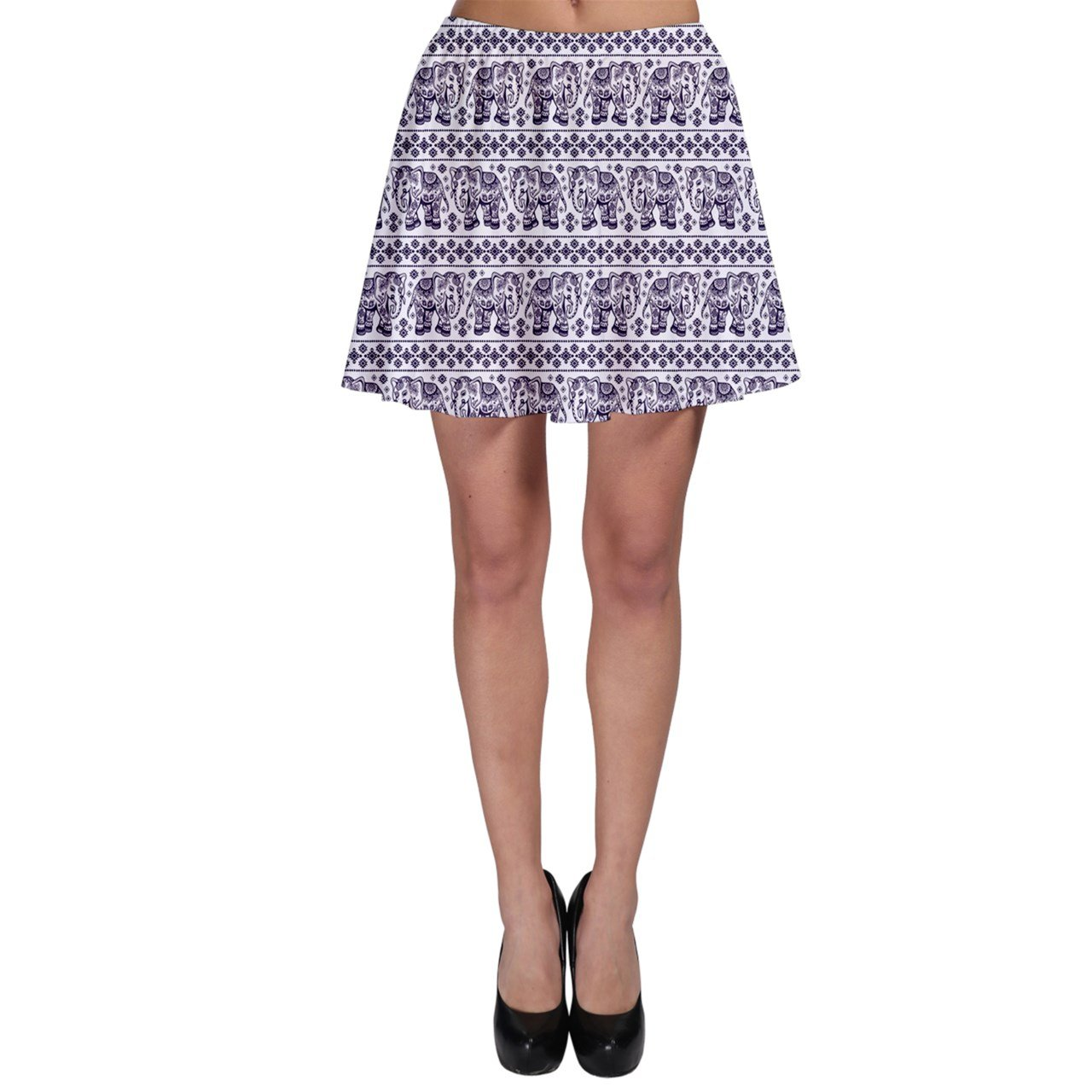 CowCow Womens Purple Ethnic Vintage Elephant Business Skater Skirt