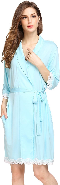 Ekouaer Womens Short Kimono Modal Solid Lace Comfort Sleepwear Light Bathrobe