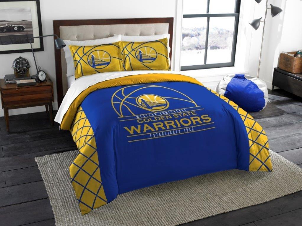 Golden State Warriors - 3 Piece FULL / QUEEN SIZE Printed Comforter & Shams - Entire Set Includes: 1 Full / Queen Comforter (86'' x 86'') & 2 Pillow Shams - NBA Basketball Bedding Bedroom Accessories
