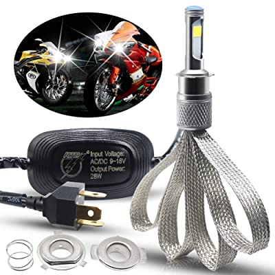 BOODLIED Motorcycle LED Headlight Bulb Conversion Kit H4 9003 Hi-Lo Beam Super Bright COB Chips 28W 2800LM 6500K For Yamaha,Honda Xenon White.1-Pack.: Automotive