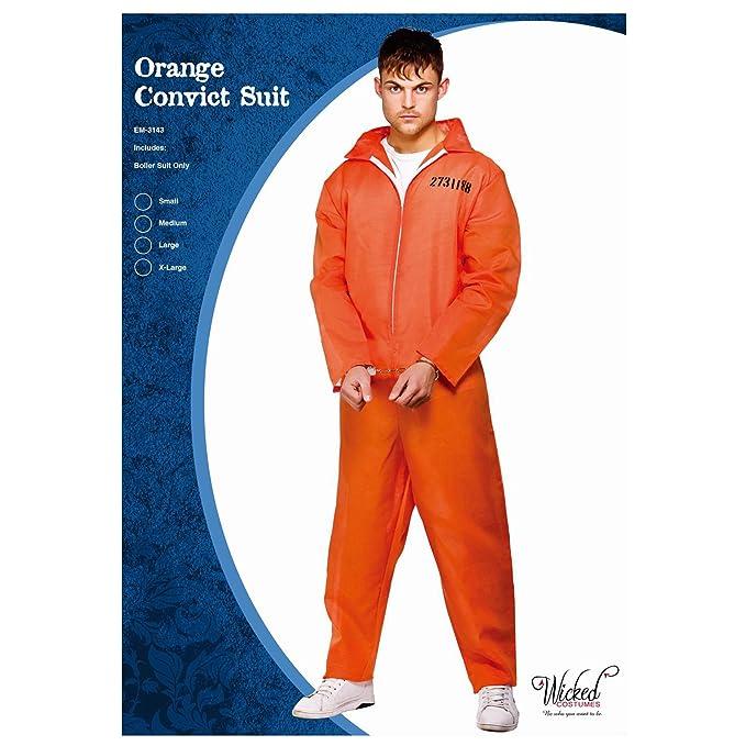Amazon.com: Convict Prisoner overol Traje De Caldera Naranja ...