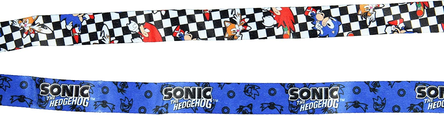 Sonic The Hedgehog Checker Flag Lanyard Keychain ID Holder Sonic Rubber Charm and Sticker